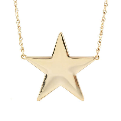 LARGE GOLD STAR CHARM NECKLACE