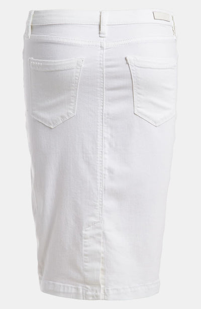 The Faithful White Denim Pencil Skirt