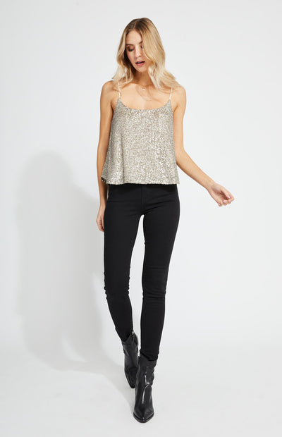 WREN PLATINUM SEQUIN TOP