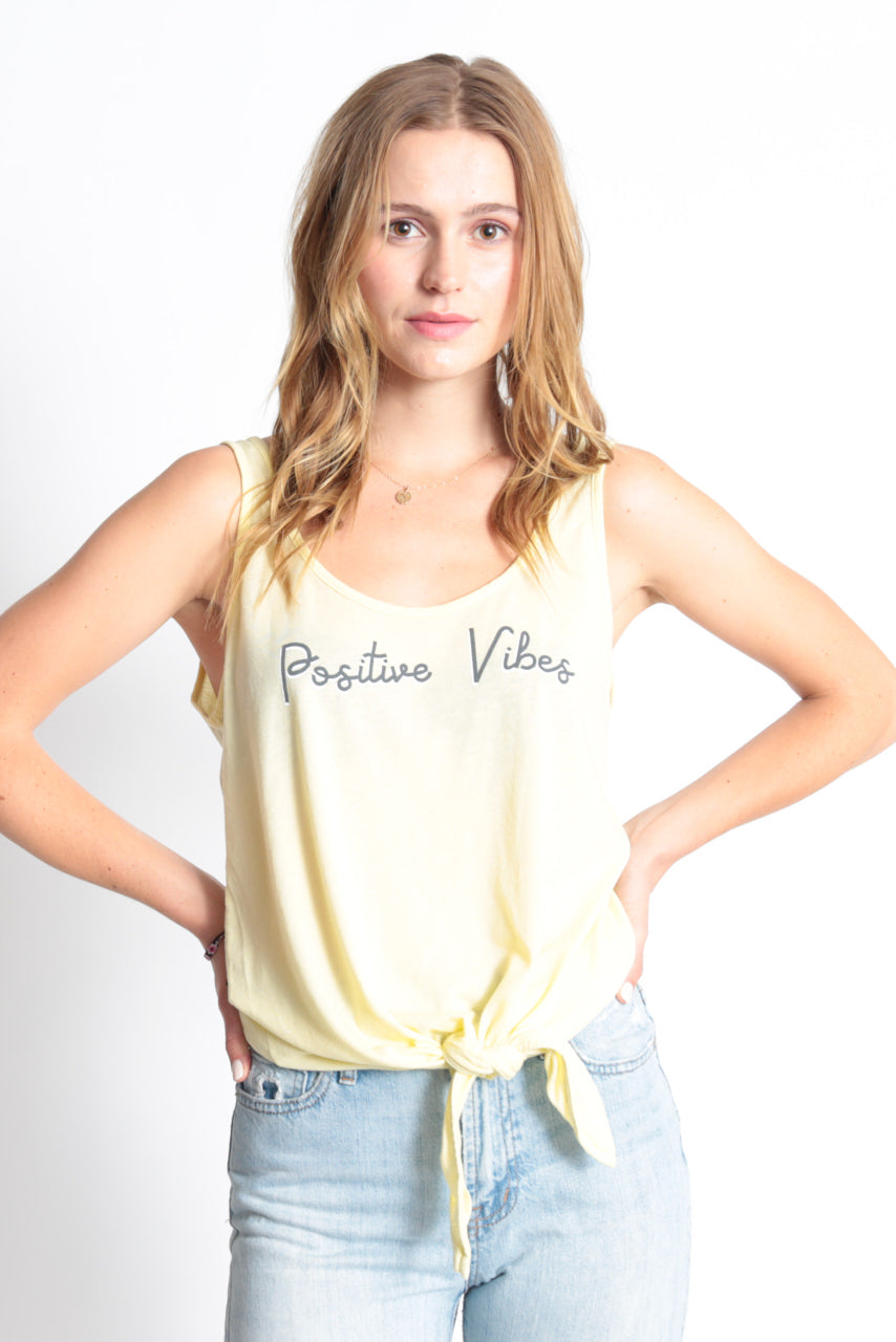POSITIVE VIBES KNOTTED TANK