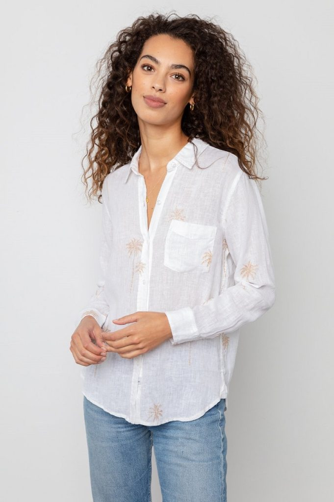 CHARLI PALM TREES LONG SLEEVE LINEN TOP