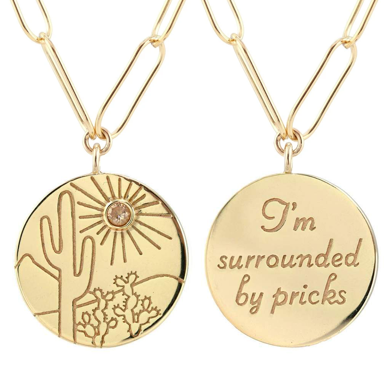 DESERT CACTUS CHARM NECKLACE- SURROUNDED BY PRICKS