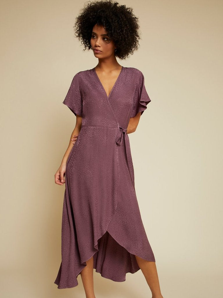 TRISTA SATIN WRAP DRESS
