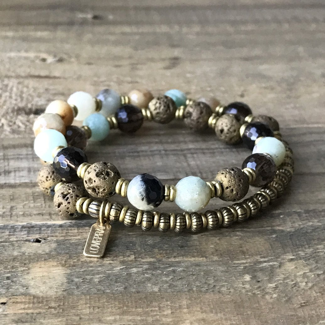 Amazonite And Smoky Quartz Aromatherapy Mala Bracelet