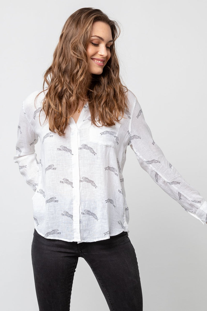 CHARLI CHEETAHS LONG SLEEVE LINEN TOP