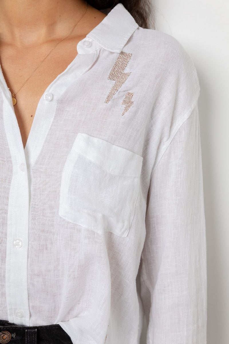 CHARLI WHITE LIGHTNING LONG SLEEVE LINEN TOP