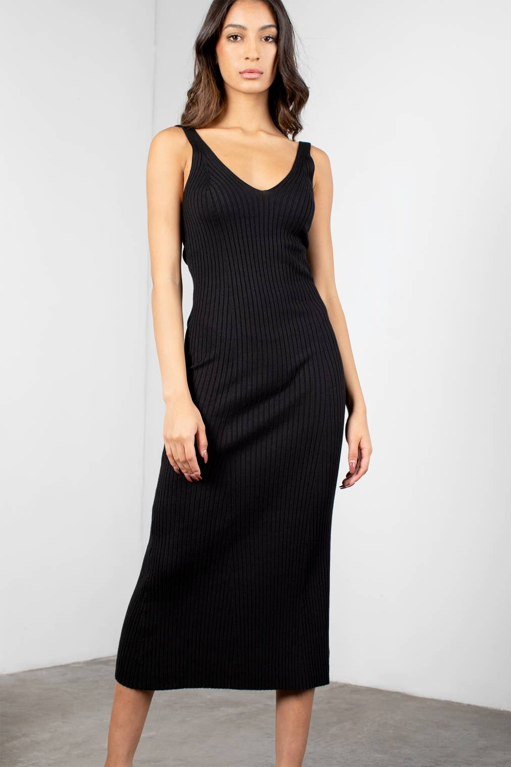 SPENCER RIBBED MIDI DRESS