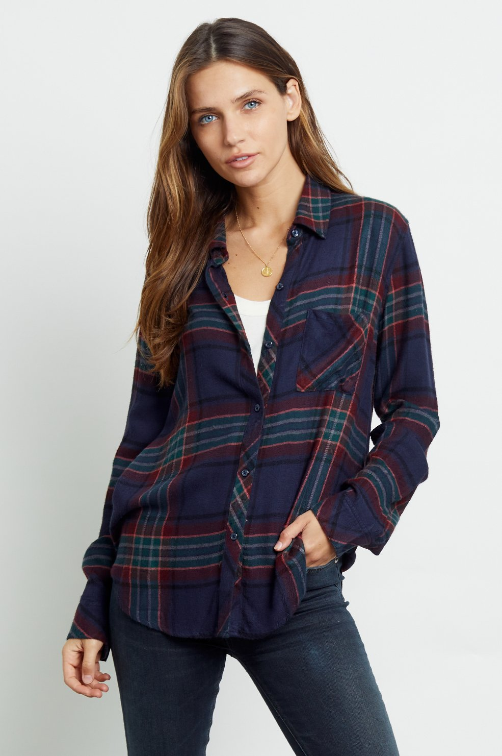 HUNTER- MARINE PLAID LONG SLEEVE TOP