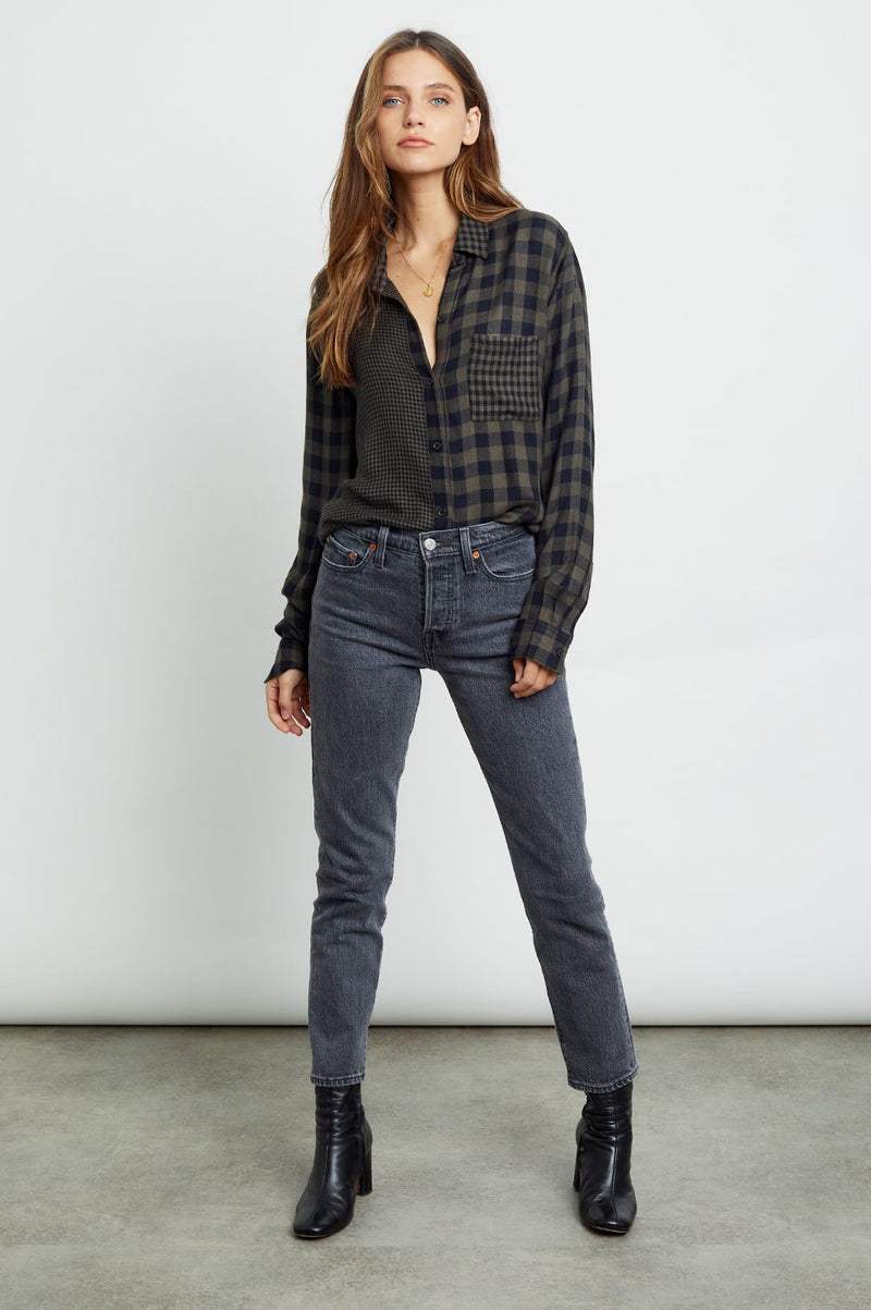 HUNTER- MIXED PLAID LONG SLEEVE TOP