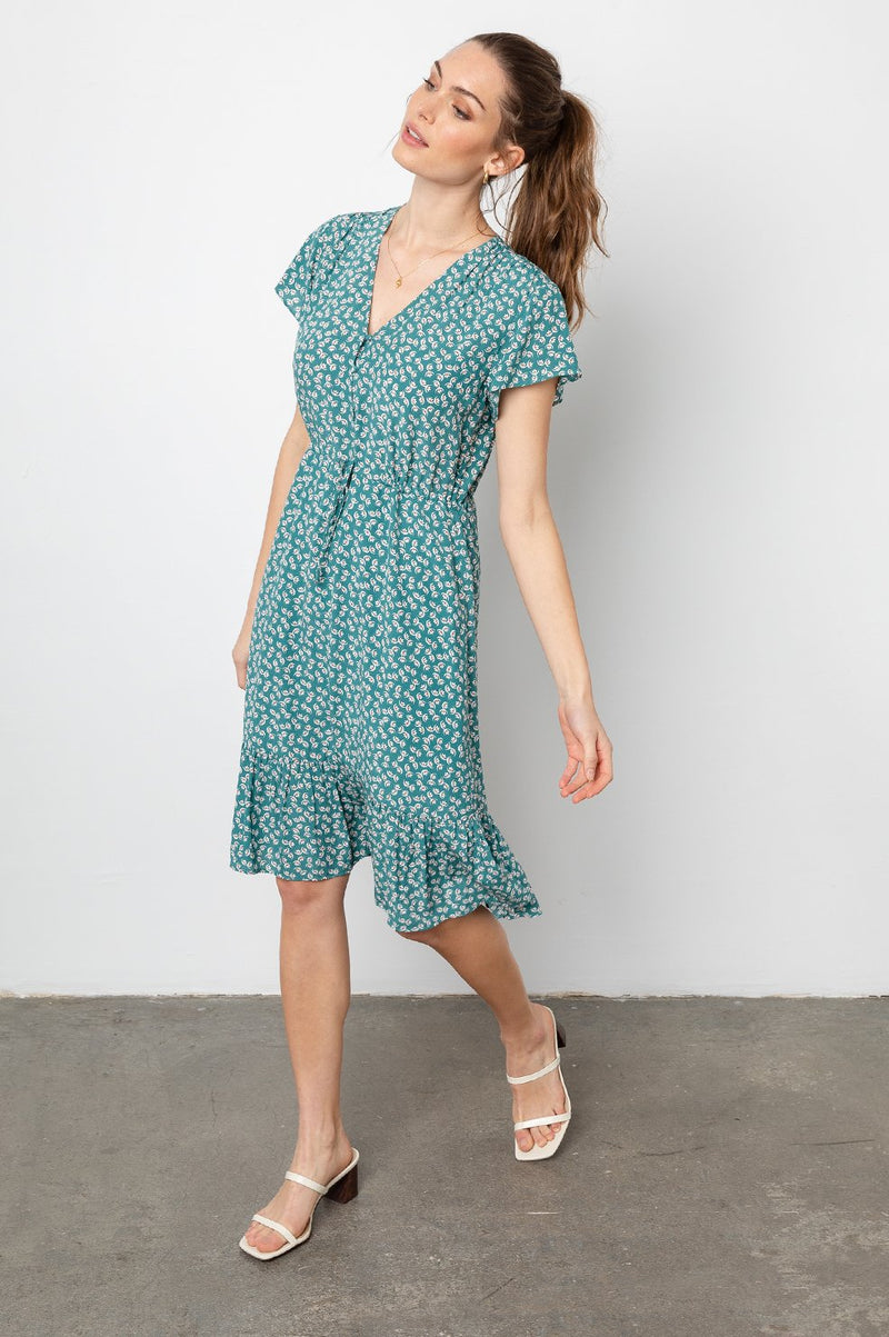 KIKI FLUTTER SLEEVE DRESS IN LOTUS