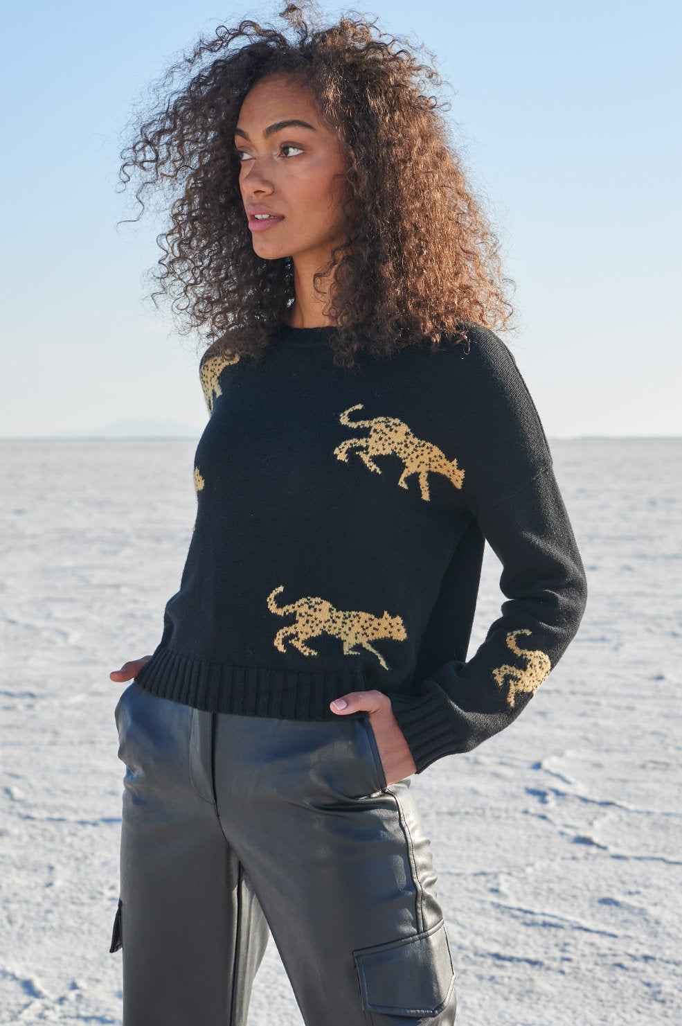 PERCI - BLACK JUNGLE CAT SWEATER