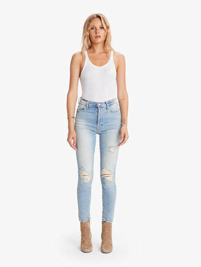 SUPER STUNNER DISTRESSED ANKLE JEAN