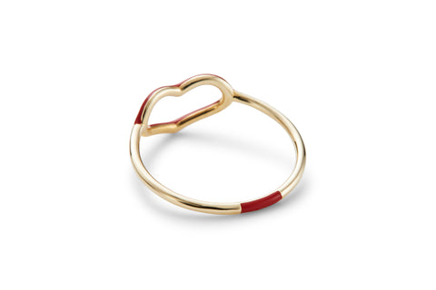 Ruby Enamel Heart Ring