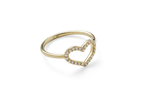 Single Heart Ring with Front & Back Pave Diamonds