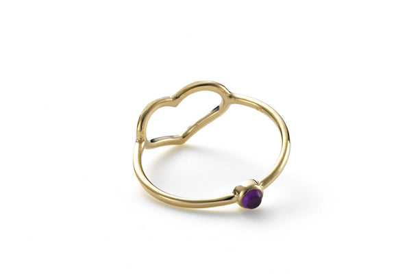 Birthstone Heart Ring With Hidden February Gem