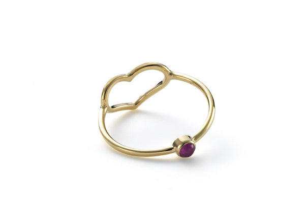 Birthstone Heart Ring With Hidden July Gem