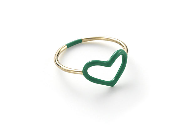 Emerald Enamel Colored Heart Ring