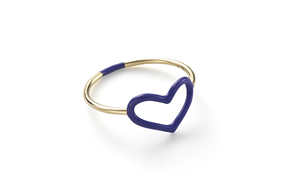 Sapphire Enamel Colored Heart Ring