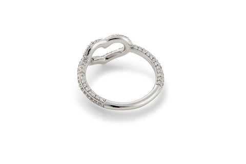 Multi White Diamond Pave Heart Ring
