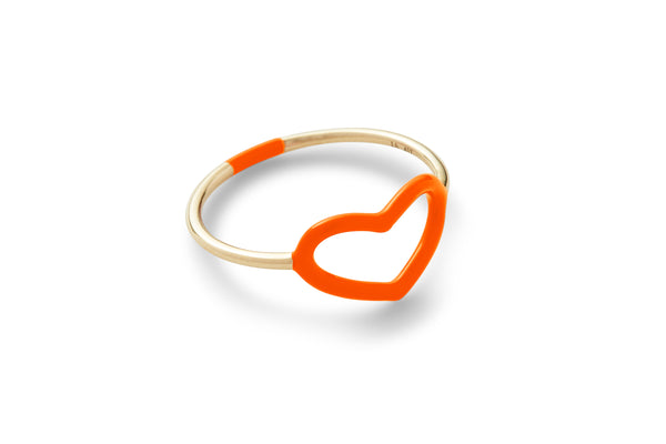 Fluorescent Orange Enamel Heart Ring