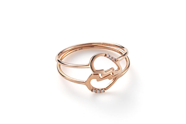 Delicate Friendship Heart Rings