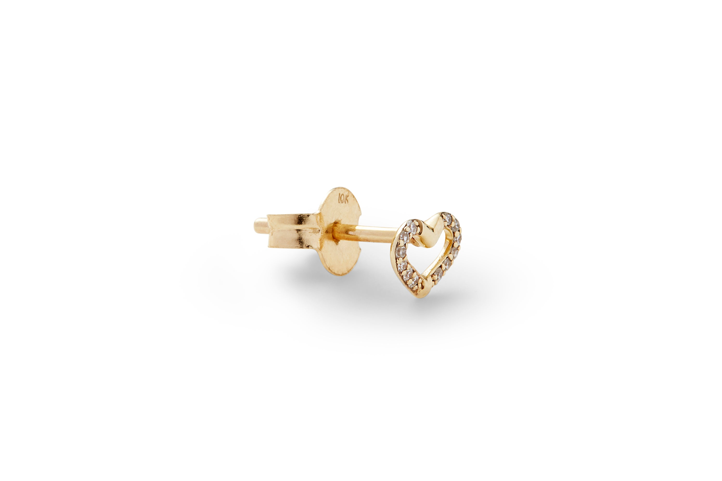 Diamond Pave Single Heart Ear Stud