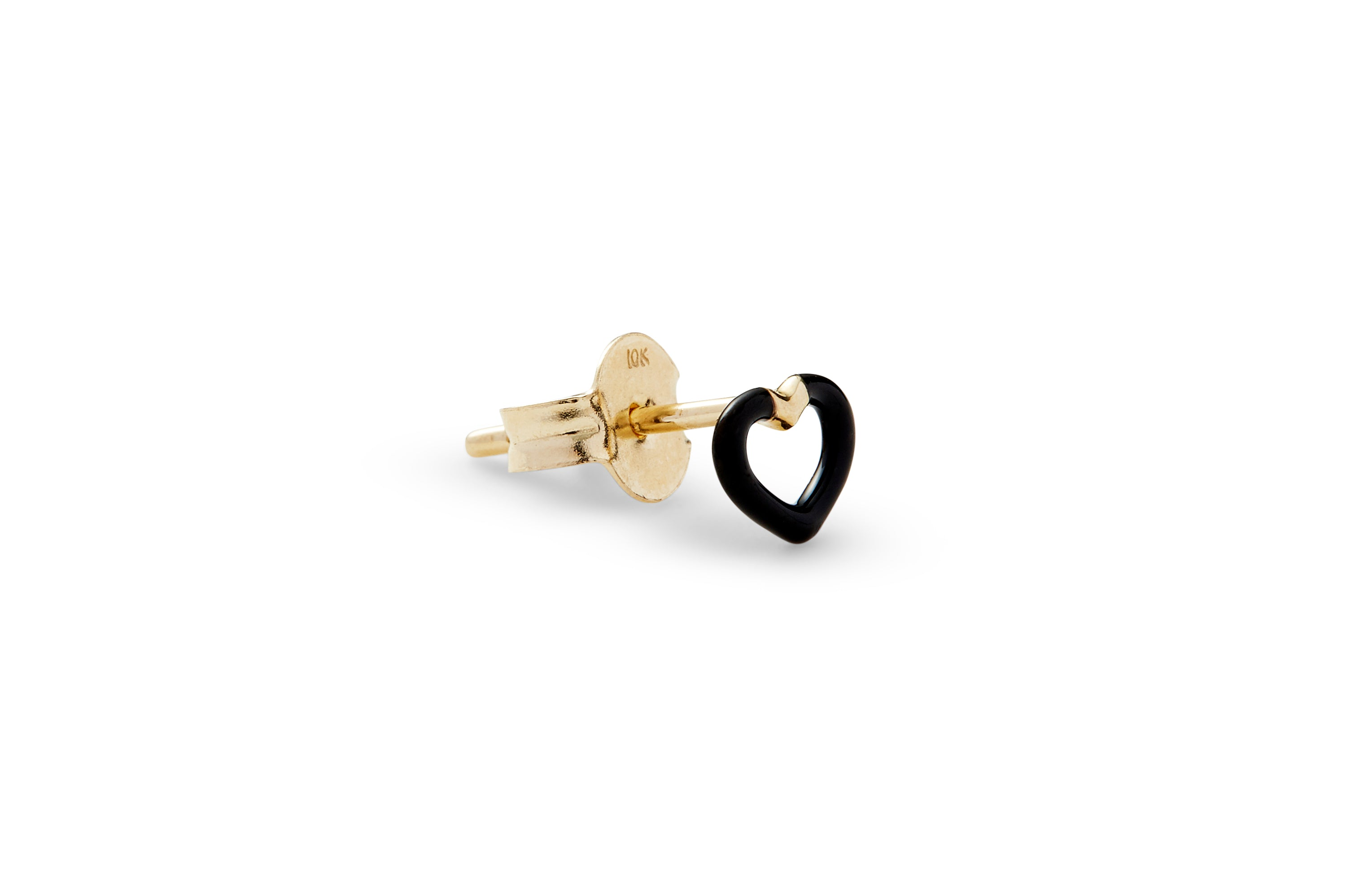 Single Black Enamel Heart Ear Stud