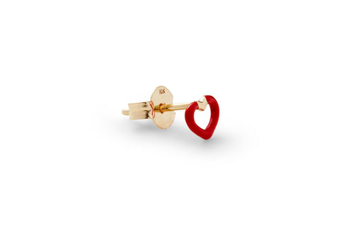 Single Ruby Enamel Heart Ear Stud