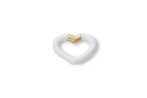 Single Agate Enamel Heart Ear Stud