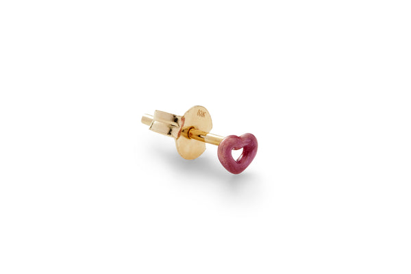 Mini Coral Violet Enamel Heart Ear Stud