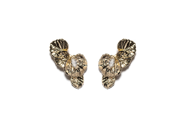 Viola Canadensis Multi-Leaf Earring With White Diamond