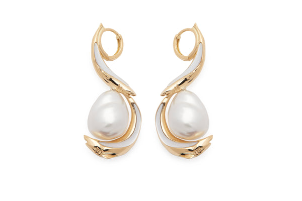 SHARK GOLD SPIRAL PEARL DROP EARRINGS