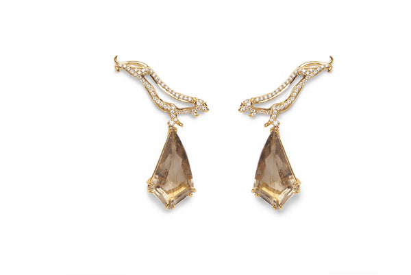 Panther Cut Out Earring With Gold Rutelated Quartz