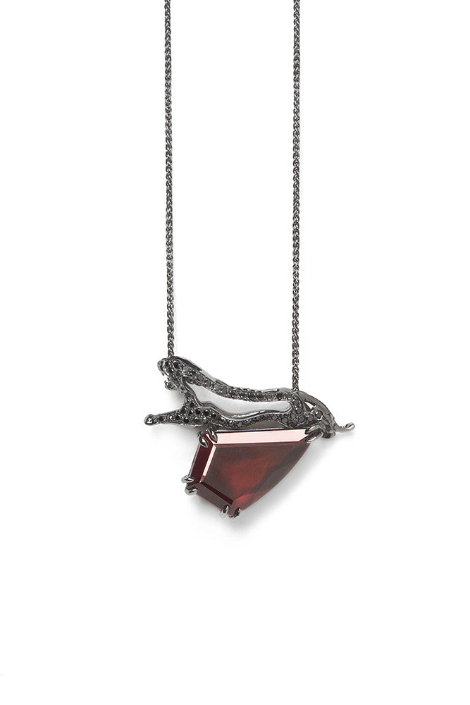 Panther Cut Out Pendant With Hessonite Garnet