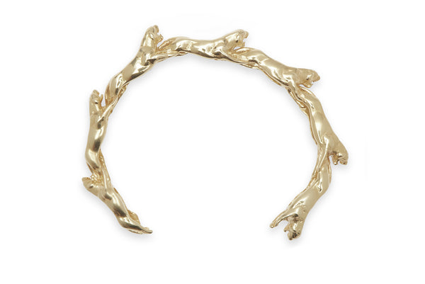 Panther Wave Cuff 18K Yellow Gold