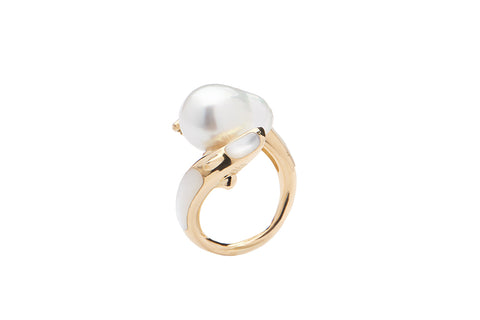 Double Shark Pearl Ring With Inlay