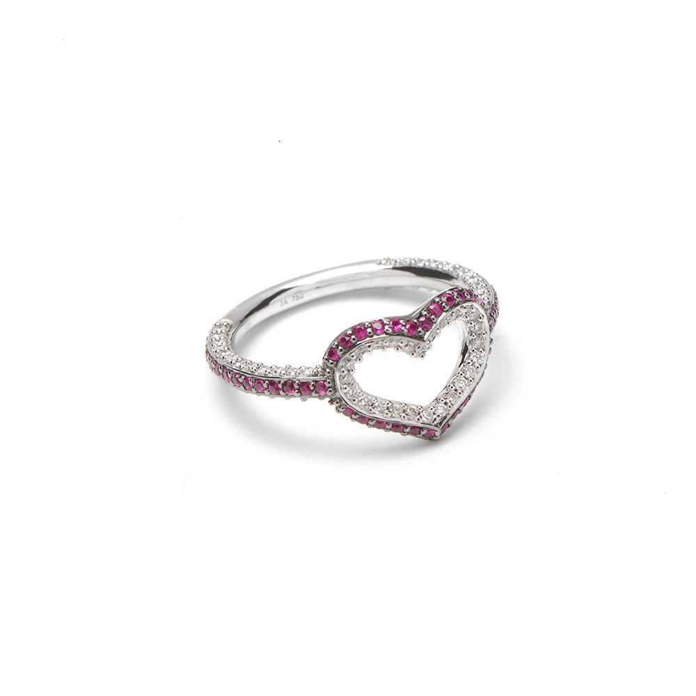 Single Heart Ring With Rubies