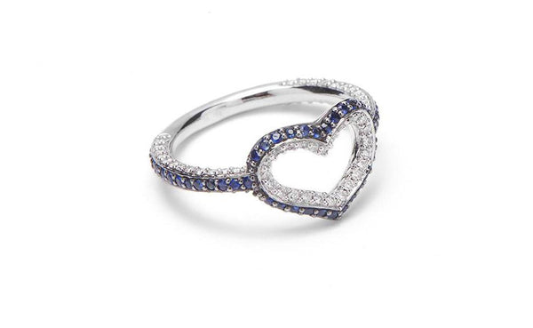 Single Heart Ring With Sapphires