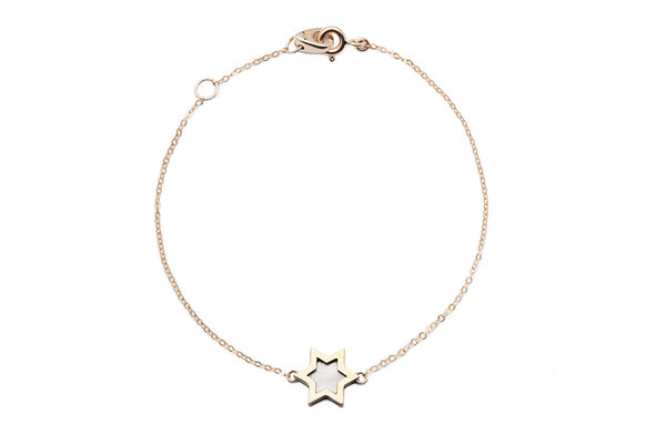 Spirit Star Mother of Pearl Chain Bracelet Enamel