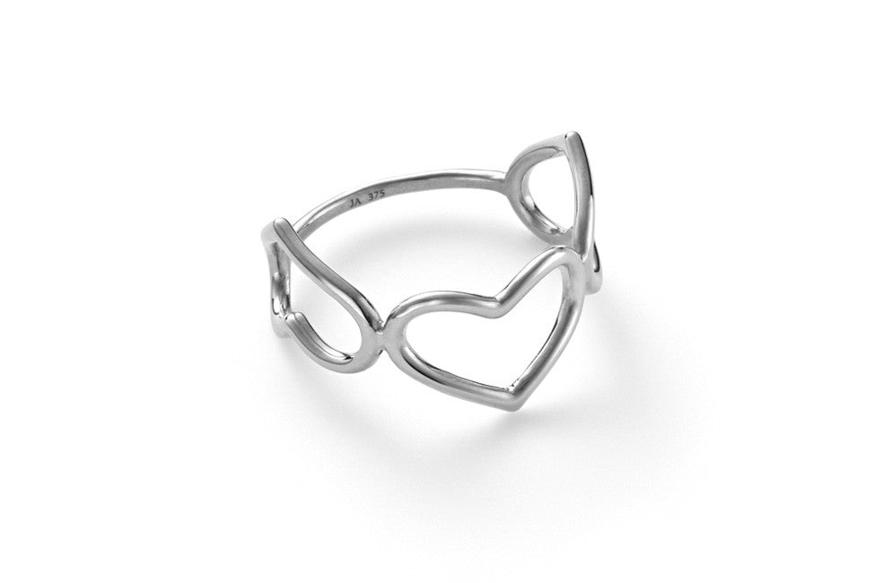 Triple Delicate Heart Ring