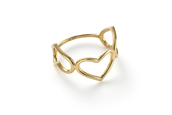 Triple Delicate Heart Ring WHITE GOLD