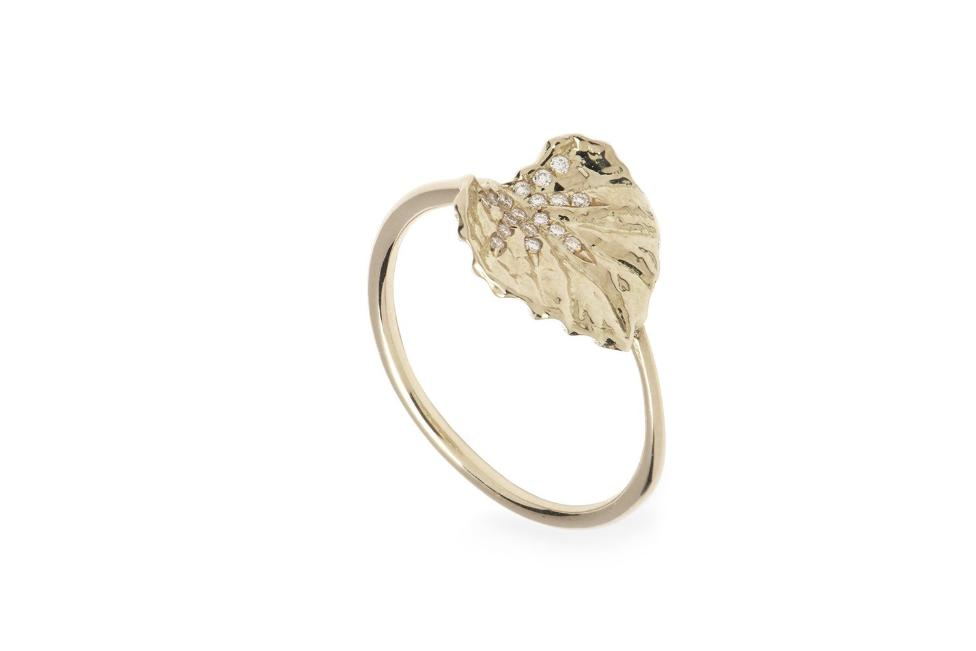 Viola Canadensis Single Leaf Ring With White Diamond
