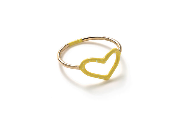 Yellow Glitter Enamel Heart Ring