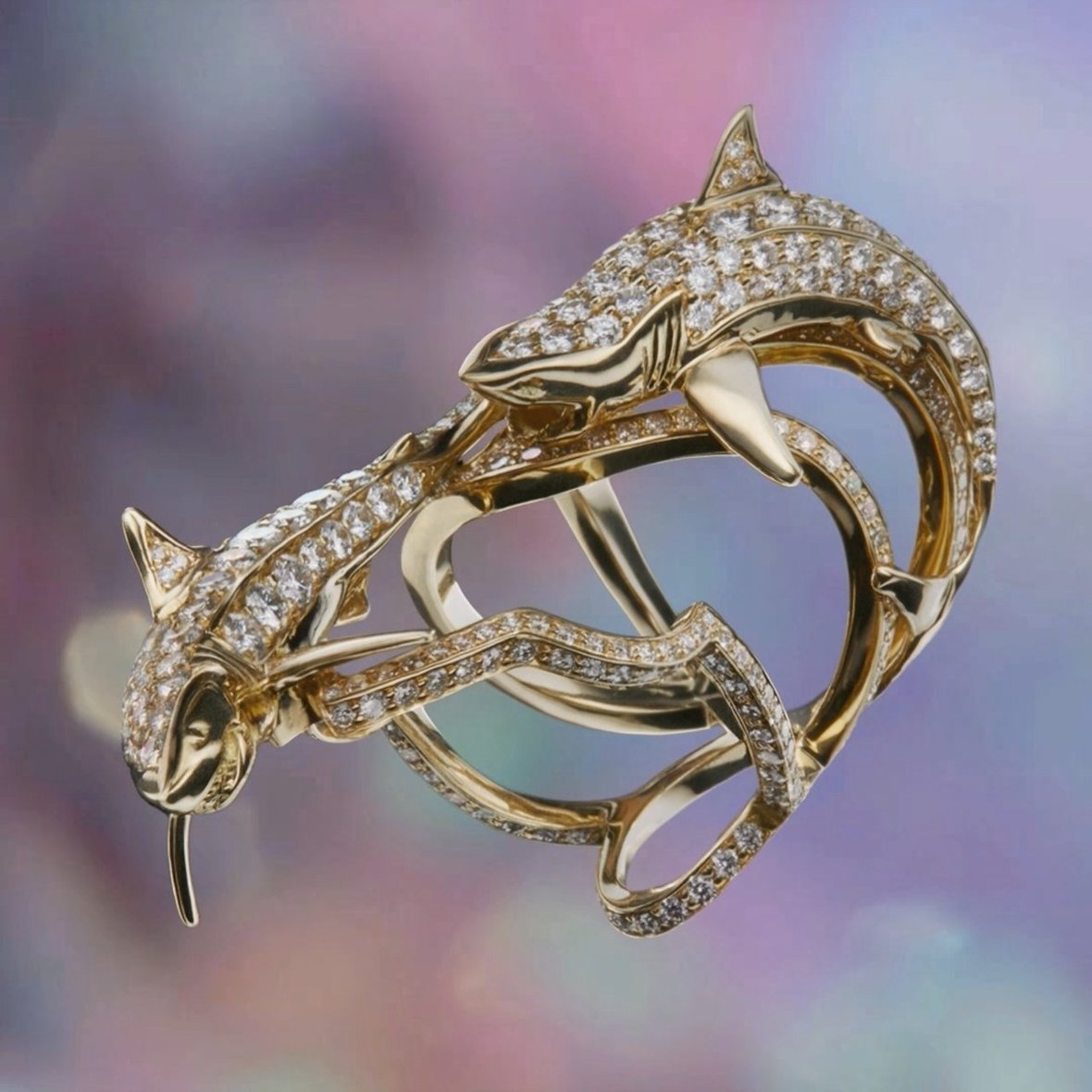 Gold Spiral Collection featuring the Precious Double Shark Twist Ring With Diamonds
