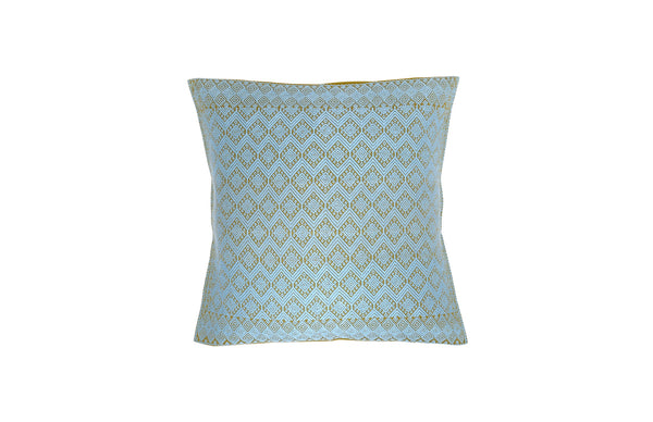 Brocade Pillow - Mustard/Turquoise