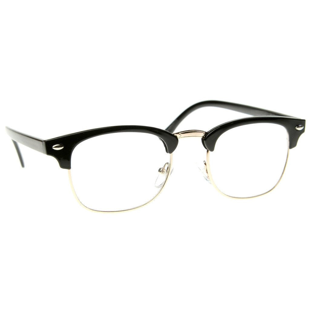 4b398bcd8bd Details about Black Brown Tortoise Clubs master Half Frame Metal Frame  Clear Glasses
