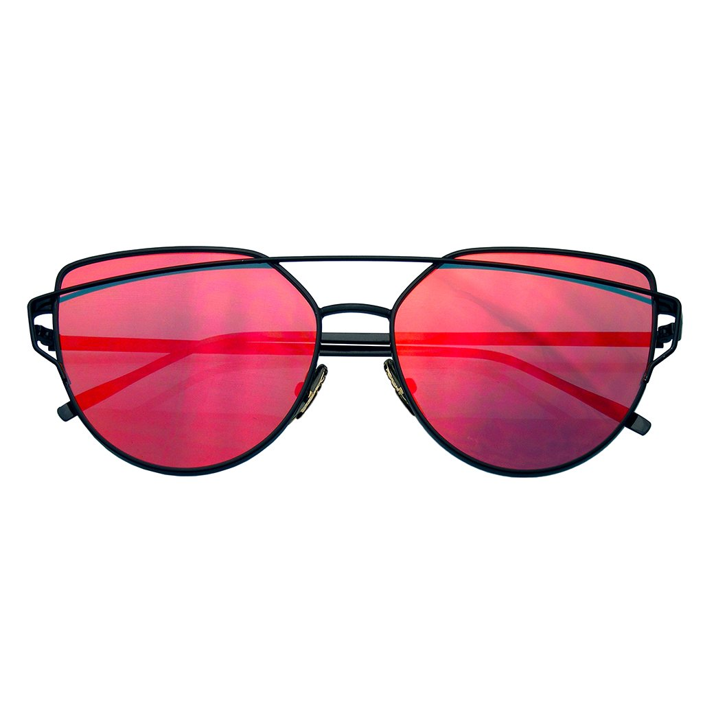 06163424fe Details about New Oversized Cat Eye Sunglasses Flat Mirrored Lens Metal  Frame Women Fashion EE