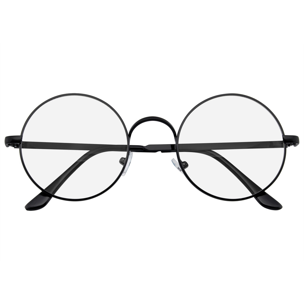 Round Glasses | Retro Vintage Classic Round Metal Clear Lens Glasses w/ CASE