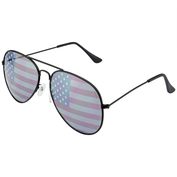 Retro 4th of July Party Festival Patriotic American Flag Sunglasses w/ CASE