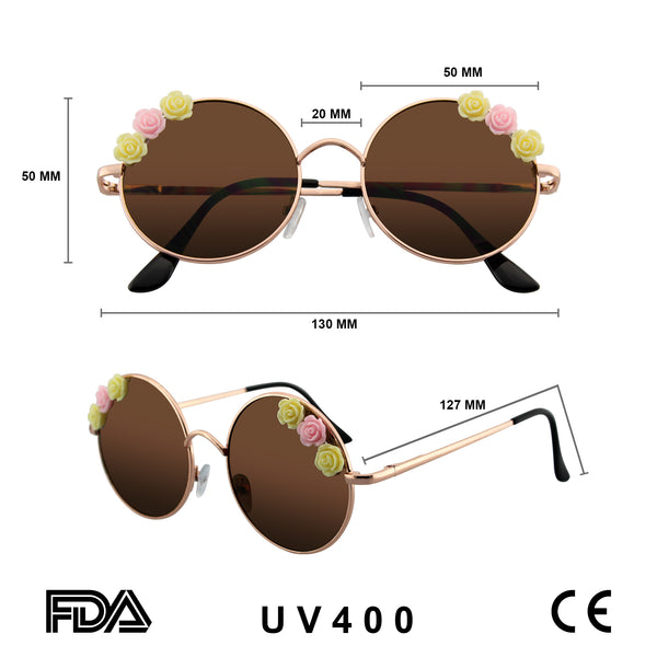Emblem Eyewear - Women's Flower Hippie Floral Metal Round Sunglasses